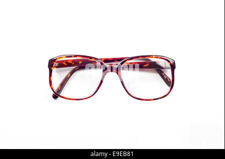 Vintage Eyeglasses with plastic frame isolated on white backgroundv - Stock Photo