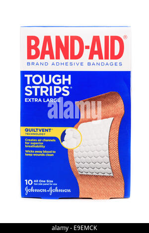Johnson & Johnson Band-Aid brand Tough Strips extra large adhesive bandages - Stock Photo