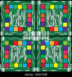 stained glass plants background - Stock Photo