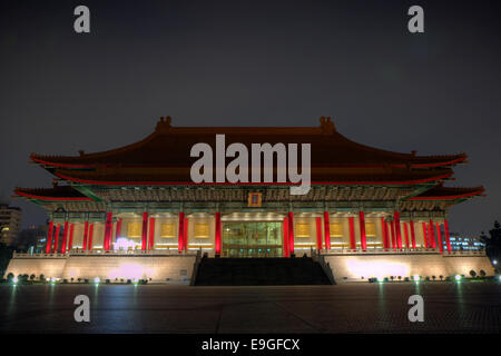 National Theater at the Chiang Kai-shek Memorial Hall Square (a.k.a. Liberty Square or Freedom Square) at dusk in - Stock Photo