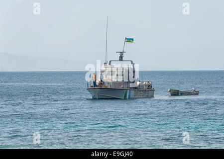 Patrol Boat at Les Sables Beach, Djibouti - Stock Photo