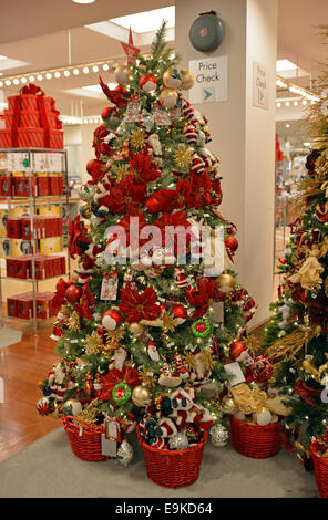 Christmas tree ornaments for sale at Macy's department store in Manhasset, Long Island, New York - Stock Photo