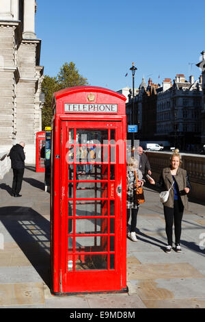 Traditional red telephone box, Westminster, London, England, UK - Stock Photo