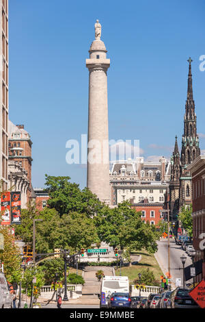 Baltimore Mount Vernon Place with original Washington Monument column, from N Charles St, heart of Mt Vernon Historic - Stock Photo
