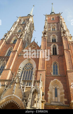Cathedral of St. John the Baptist on Cathedral Island Ostrow Tumski, Wroclaw, Poland - Stock Photo