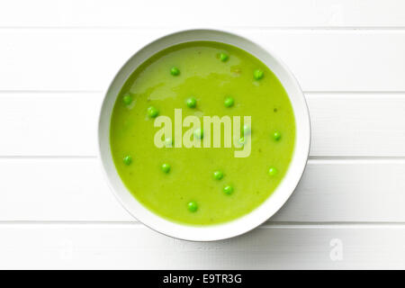 top view of pea soup in plate - Stock Photo