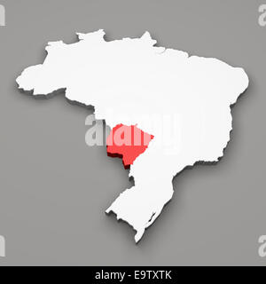 Mato Grosso do Sul state on map of Brazil on gray background - Stock Photo