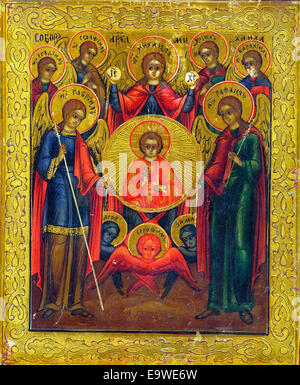 'Synaxis of the Archangel Michael' . An Eastern Orthodox Church icon of the 'Seven Archangels'. From left to right: - Stock Photo