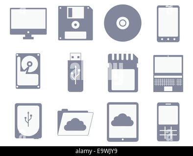 vector icon set of different storage and computer devices: flopp, compact disc, hard drive, tablet, mobile phone - Stock Photo