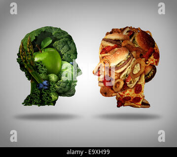 Lifestyle choice and dilemma concept as a two human faces one made of fresh green vegetables and fruit and the other - Stock Photo