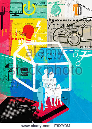 Collage of family on credit card and household bills - Stock Photo