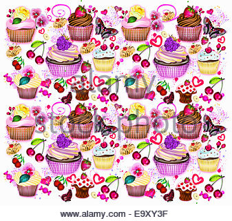 Cupcakes, fruit and butterflies pattern - Stock Photo