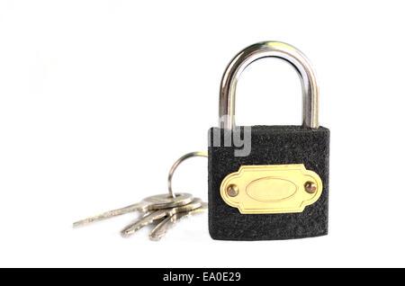 Key and padlock isolated on white background - Stock Photo