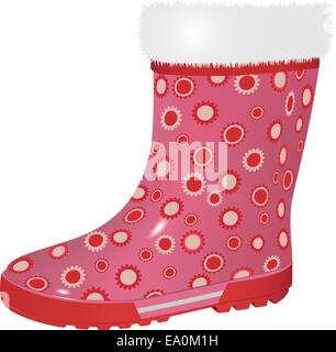 vector pink rubber boot on white background - Stock Photo