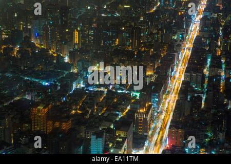 Aerial view of city and roads at night, Taipei, Taiwan, China - Stock Photo