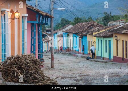 Colourful street in historical center, Trinidad, UNESCO Site, Sancti Spiritus Province, Cuba, West Indies, Caribbean - Stock Photo
