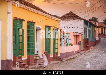 Street scene in historical center, Trinidad, UNESCO World Heritage Site, Sancti Spiritus Province, Cuba, West Indies, - Stock Photo