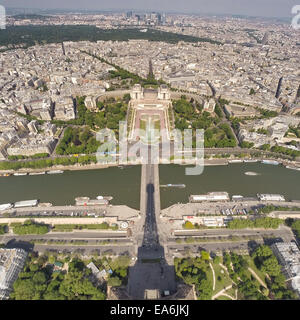 France, Paris, Eiffel Tower shadow on aerial view of city - Stock Photo
