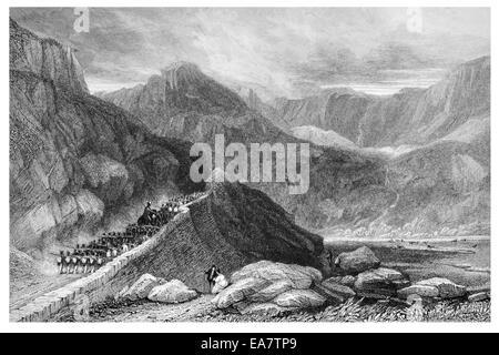 Nant Frangon  Caernarvonshire circa 1830 - Stock Photo