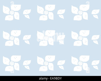 Baby flowers blue. Abstract hand drawn flower pattern in baby colors baby blue. - Stock Photo