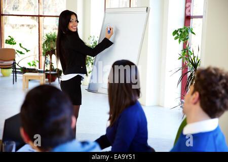 Happy businesswoman presenting something on flipchart - Stock Photo