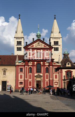St George's Basilica at the Prague Castle in Prague, Czech Republic. - Stock Photo