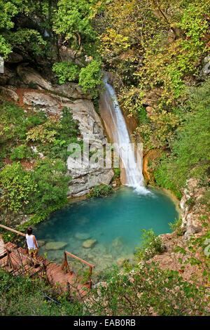 One of the waterfalls in Neda canyon, Ileia-Messinia, Peloponnisos (Peloponnese), Greece. - Stock Photo