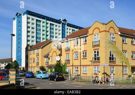 High-rise housing estate, Hawthorn Road, Feltham, London Borough of Hounslow, Greater London, England, United Kingdom - Stock Photo