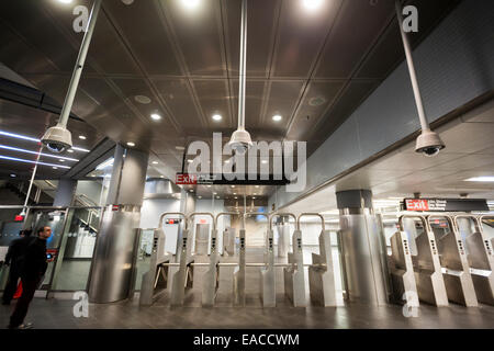 Multiple security cameras in the new Fulton Center in Lower Manhattan in New York - Stock Photo