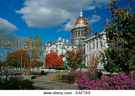 The State House in Augusta, Maine, USA during restoration of the copper dome. - Stock Photo