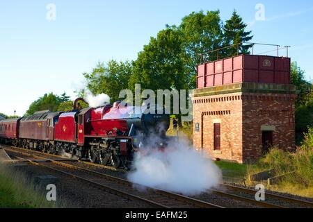 Steam train the Galatea at Appleby Station, Appleby-in-Westmorland, Cumbria, Settle to Carlisle Railway Line, England, - Stock Photo