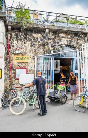 non-profit bicycle workshop and rental on the bank of the marne canal, quai de la marne,  paris, ile de france, - Stock Photo