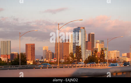 Early evening traffic into downtown los angeles - Stock Photo