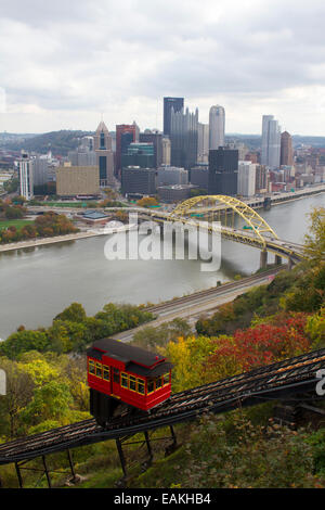 Duquesne Incline and the Monongahela River and Fort Pitt bridge in Pittsburgh, Pennsylvania from Mount Washington - Stock Photo