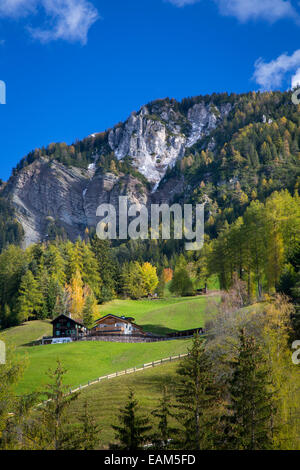 Mountain home in the Dolomites near Santa Maddelena, Val di Funes, Trentino-Alto-Adige, Italy - Stock Photo