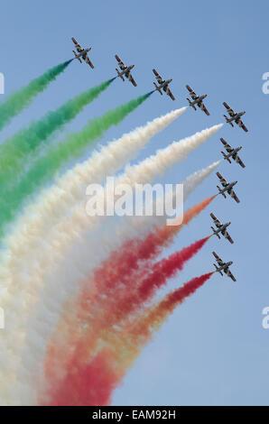 The Frecce Tricolori (literally 'Tricolour Arrows'),is the aerobatic demonstration team of the Italian Aeronautica - Stock Photo