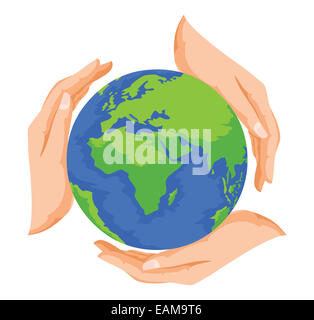 Vector illustration of hands protecting earth, save earth concept. - Stock Photo