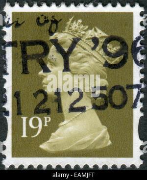 UNITED KINGDOM - CIRCA 1993: Postage stamp printed in England, shows a portrait of Queen Elizabeth II, circa 1993 - Stock Photo