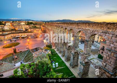 Segovia, Spain at the ancient Roman aqueduct. - Stock Photo
