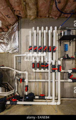 PVC Pipe Plumbing System In New Home Construction - Stock Photo