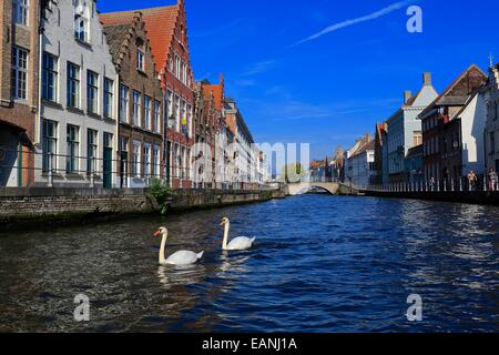 Bruges old town Canal scene showing bridge across St Annarei  canal, Belgium. Bruges canal scene Bruges old town - Stock Photo