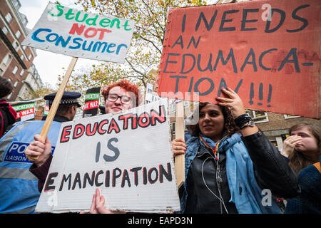 London, UK. 19th Nov, 2014.  Mass student protest march against tuition fees Credit:  Guy Corbishley/Alamy Live - Stock Photo
