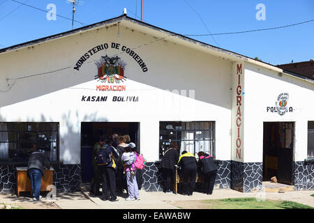 Migration office in Kasani on the Bolivian side of the Peruvian-Bolivian border - Stock Photo