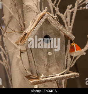 Shop Window display of wooden festive Nest Box, or bird house with stuffed xmas Robin on a branch, Manchester, UK - Stock Photo