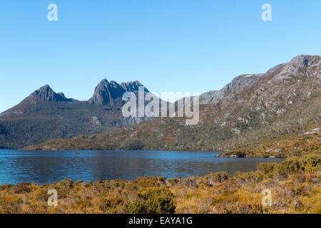 Cradle mountain and dove lake in cradle mountain wilderness national park,Tasmania,Australia - Stock Photo