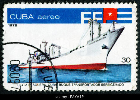 CUBA - CIRCA 1978: A stamp printed in Cuba from the 'Fishing Fleet ' issue shows Fish factory ship ' Oceano Atlantico - Stock Photo