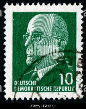 GERMANY - CIRCA 1961: post stamp printed in GDR shows Chairman Walter Ulbricht (communist politician, first secretary - Stock Photo
