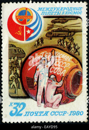 RUSSIA - CIRCA 1980: stamp printed by Russia, shows Landing, circa 1980 - Stock Photo