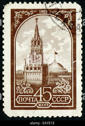 USSR - CIRCA 1982: A postage stamp printed in USSR showing an Kremlin, Capital of USSR - the city of Moscow, circa - Stock Photo