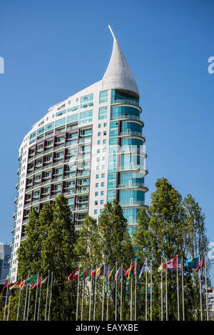 Torre Sao Gabriel, Saint Gabriel Tower, Park of the Nations, Lisbon, Portugal - Stock Photo